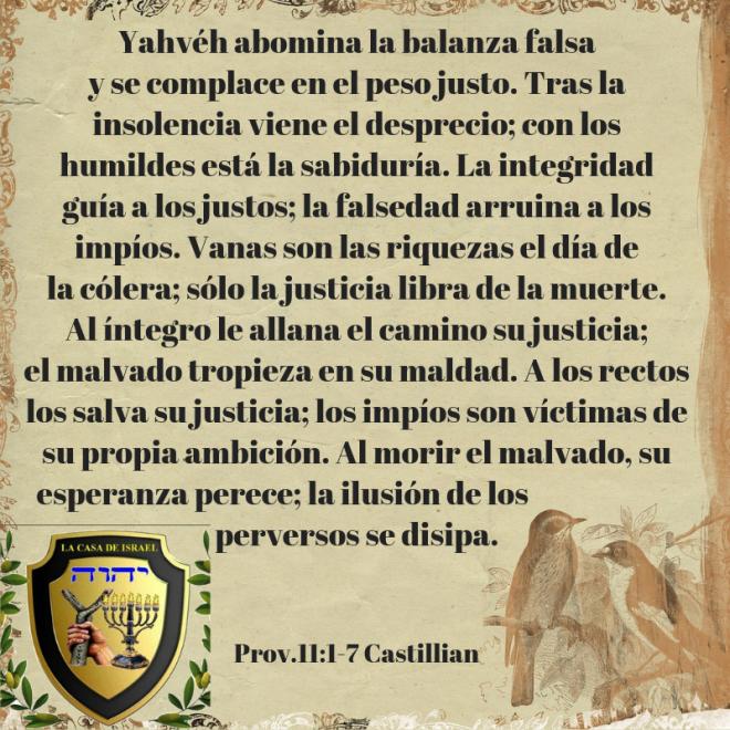 Prov.11_1-7 Casa de Yisrael