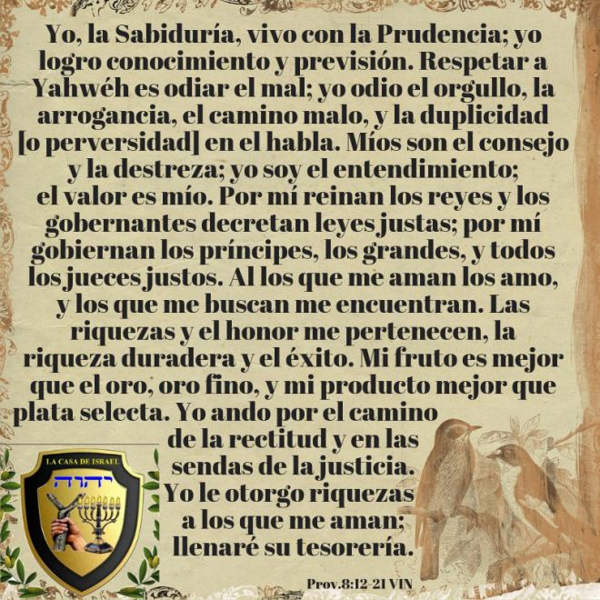Prov.8_12-21 Casa de Yisrael