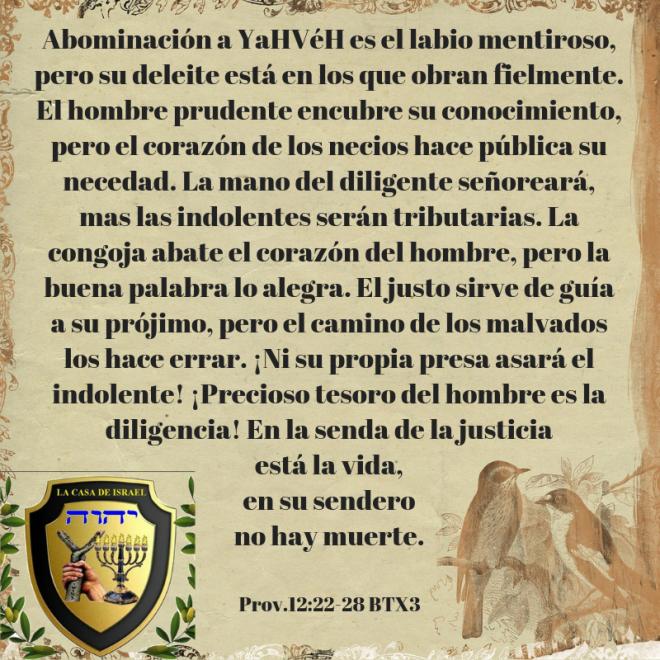 Prov.12_22-28 Casa de Yisrael