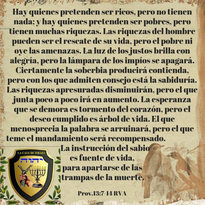 Prov.13_7-14 Casa de Yisrael