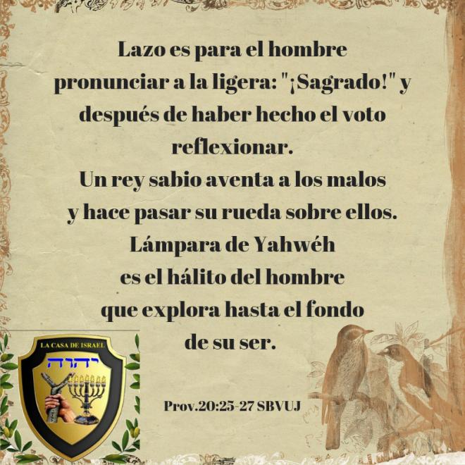 Prov.20_25-27 Casa de Yisrael