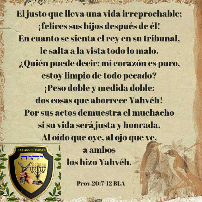 Prov.20_7-12 Casa de Yisrael